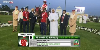 RB MONEY TO BURN WINS THE GR 3 AL RUWAIS IN ABU DHABI ON JANUARY 27TH