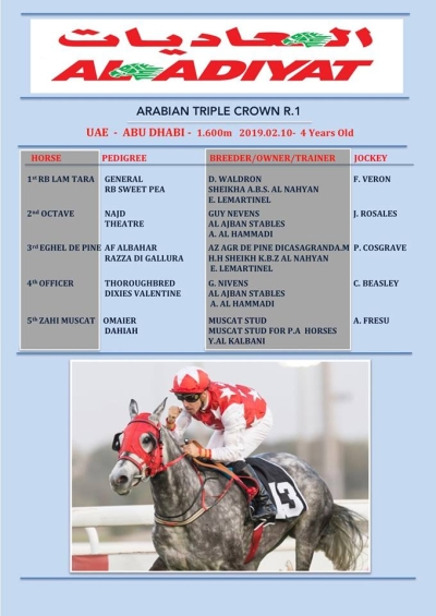 RB LAM TARA lands the Arabian TRIPLE CROWN R1