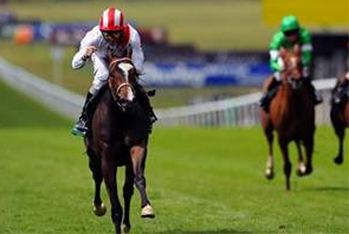 Ridden by Neil Callan, Misheer strides to victory in the Cherry Hinton Stakes at Newmarket yesterday. Empics Sport